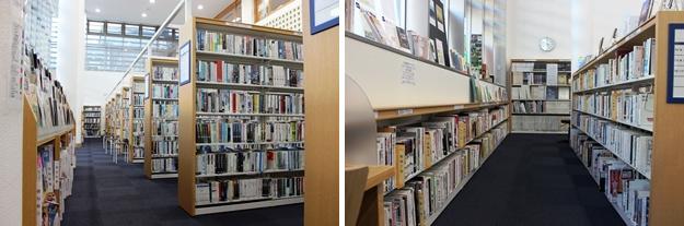 一般書架。小説のコーナー(左)と芸術書のコーナー(右)。
