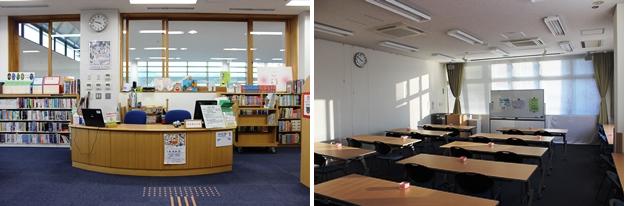 (左)2階カウンターでは「おはなし会」の案内も。(右)利用予約がない場合は閲覧室として活用できる会議室。