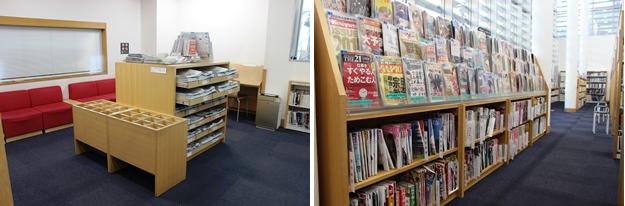 (左)新聞コーナー。(右)雑誌コーナー。