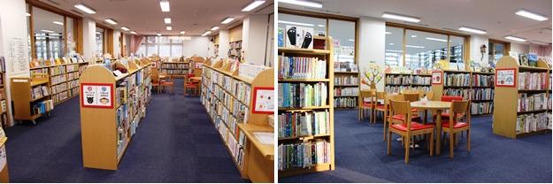 児童コーナーには外国の絵本や読み物も豊富な児童コーナー。閲覧席のテーブルやイスはもちろん子供サイズ(右)。