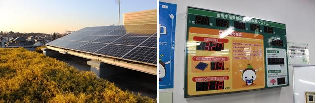 (左)屋上の太陽光発電パネル。緑化にも取り組んでいる。(右)太陽光発電のデータを館内で表示。