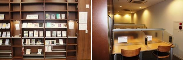 (左)新着図書コーナー。(右)閲覧席(予約席)