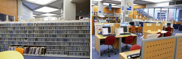 (左)CDコーナー。(右)パソコン席