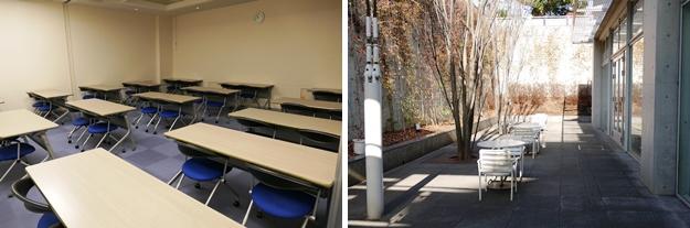(左)会議室。(右)サンクンガーデン