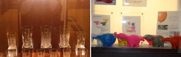 (左)江戸切子のグラスを展示。(右)日本で唯一の手作りふうせん。作り方を解説