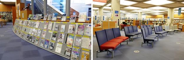 (左)雑誌コーナー。(右)雑誌コーナーの閲覧席