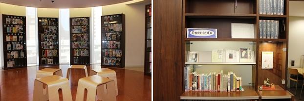 (左)雑誌コーナー。(右)隅田区ゆかりの作家コーナー