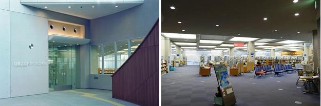 (左)エントランス。(右)広々としたワンフロアの図書館