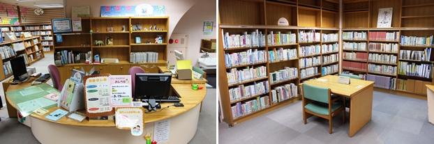 (左)児童コーナーカウンター。(右)児童書研究資料コーナー