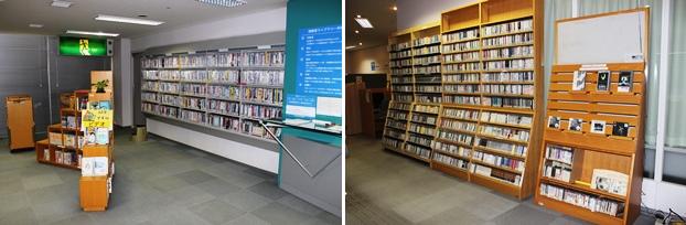 視聴覚ライブラリー。DVD、ビデオテープ、CDを所蔵