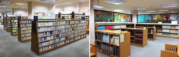 (左)文庫・新書コーナー。(右)大型本コーナー