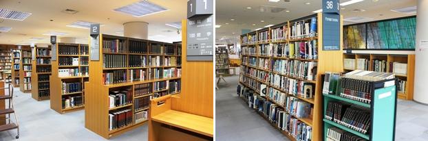 (左)学術書コーナー。(右)外国語図書コーナー