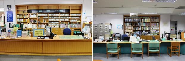 (左)一般カウンター。(右)レファレンスカウンター。図書館の機能を活用して資料や情報を的確な提供するサービスを実施