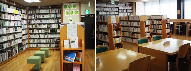 (左)中高生が楽しめる本や学習に役立つ資料が並ぶ青少年エリア。(右)青少年エリアの閲覧席