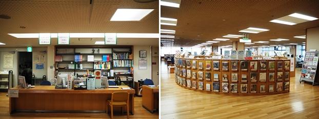 (左)受付カウンター。(右)女性誌や鉄道雑誌をはじめとするあらゆる雑誌が展示されている雑誌エリア