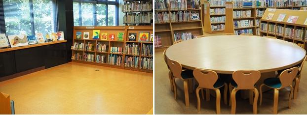 (左)児童エリアのよみきかせコーナー。(右)児童エリアの閲覧席