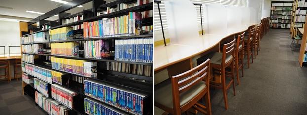 (左)旅行雑誌コーナー。旅行に役立つ旅行関連本を展示。(右)眺めの良い窓際の閲覧席