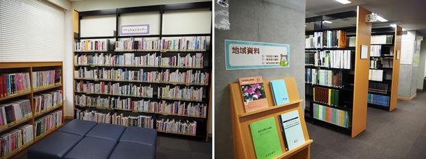 (左)ファッションコーナー。ファッションの街にちなみ、数多くのファッション雑誌を展示。(右)渋谷区の地域資料展示コーナー
