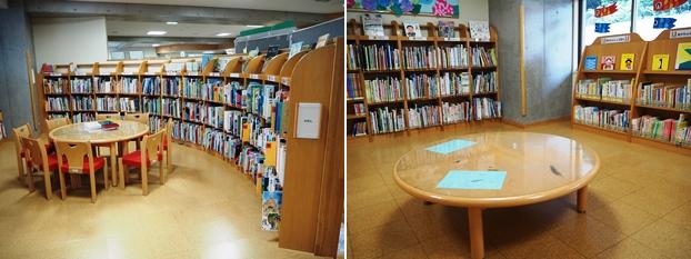 (左)子どもの本コーナー子供専用スペースとして閲覧席を囲むよう本棚が並ぶ。(右)子どもの本コーナーにある靴脱ぎスペース。ひょうたん型をした床暖房完備のよみきかせコーナー