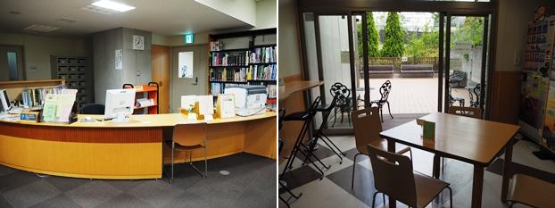(左)総合カウンター。(右)天気のよい日には外でも食事や休憩ができる喫茶休憩コーナー