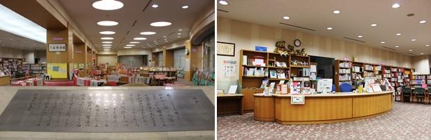 (左)こどもとしょしつの入り口には江戸川区歌の碑が施されている。(右)こどもとしょしつのカウンター