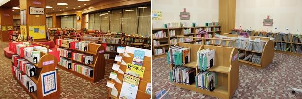 こどもとしょしつ/(左)ちしきの本コーナー。(右)えほんコーナー