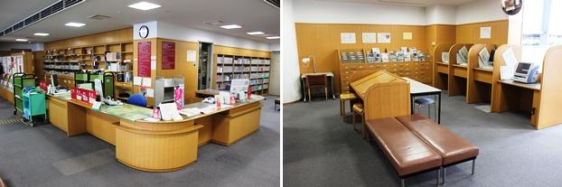 (左)1階カウンター。(右)新聞閲覧席と利用者端末