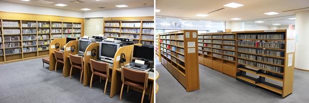 (左)ビデオDVDコーナーと再生端末。(右)CDコーナー