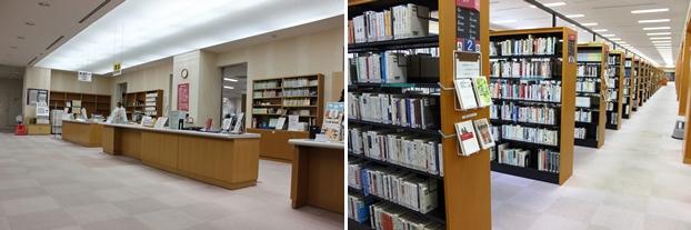 (左)総合案内カウンター。(右)一般図書書架