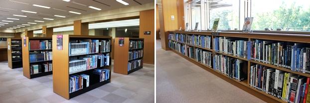 大型図書は2階中央部と窓際に配置。棚と棚の幅が広く、容易に取り出せる