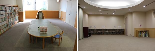 (左)こども図書館・閲覧席。(右)おはなしのへや