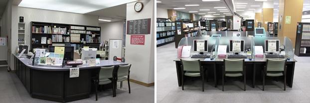 (左)3階カウンター。レファレンス窓口。(右)資料検索機