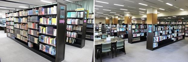 (左)文学コーナー。(右)保存資料コーナー