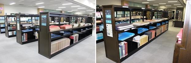 (左)大型地図コーナー。(右)大型図書コーナー