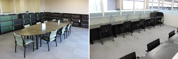 (左)法規資料のある書架の側にある落ち着いた雰囲気の閲覧席。(右)PCが使用できる閲覧室