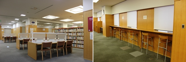 (左)西側の閲覧席。(右)東側の閲覧スペース