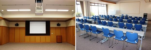 (左)視聴覚ホール。(右)講習室