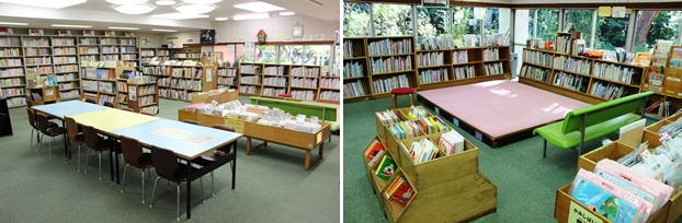 (左)児童室。(右)じゅうたんコーナー