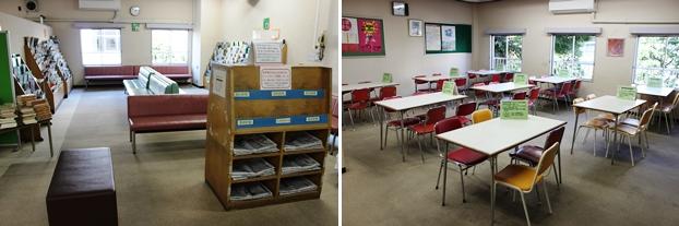 (左)新聞・雑誌コーナー。(右)新聞・雑誌コーナーに隣接する休憩室。11:30~13:30は飲食専用