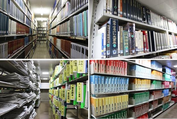 閉架書架は4層。1階は総記・哲学、社会科学・自然科学・技術・産業、2階は歴史、言語、日本・外国文学、3階は小説、新聞バックナンバー、短期保存雑誌バックナンバー、4階は児童書、新聞縮刷版などを所蔵