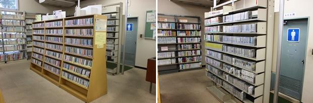 (左)CDコーナー。(右)CD-ROM・DVDコーナー