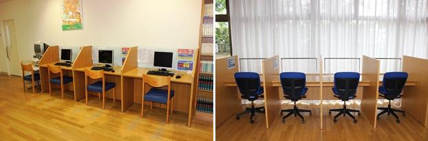 (左)インターネット利用パソコン席。(右)キャレル席(個人閲覧席)