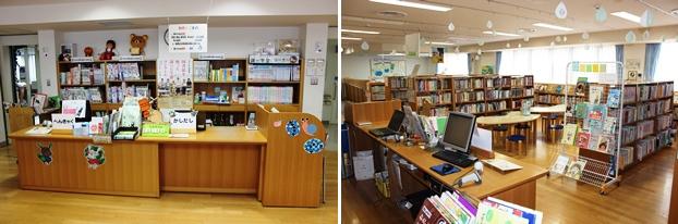 (左)児童室カウンター。(右)児童室内の装飾はすべて図書館スタッフの創意工夫によるものだ