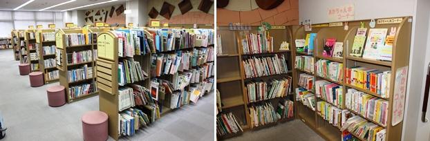 児童書は4万冊以上を所蔵。あかちゃん本コーナー(右)も設置