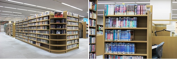 (左)CDコーナー。(右)ビデオコーナー