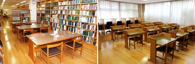 (左)事典・年鑑・白書の棚がある参考図書コーナーには閲覧席を設置。(右)閲覧スペース