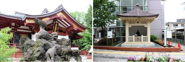 (左)素盞雄神社。(右)橋本左内の墓旧套堂