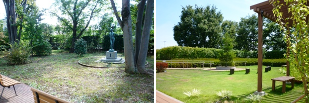 (左)1階庭園。(右)2階屋上庭園