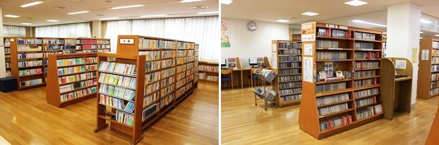 (左)文庫コーナー。(右)視聴覚資料コーナー