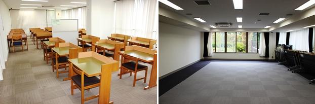 (左)●席ある読書室。(右)各種イベントを行う会議室。練馬区内にある団体や事業所にも貸し出している